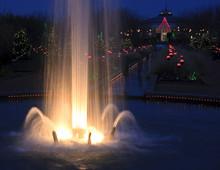 Fountain Lit Up At Night During Christmas At Daniel Stowe Gardens Near Charlotte, North Carolina