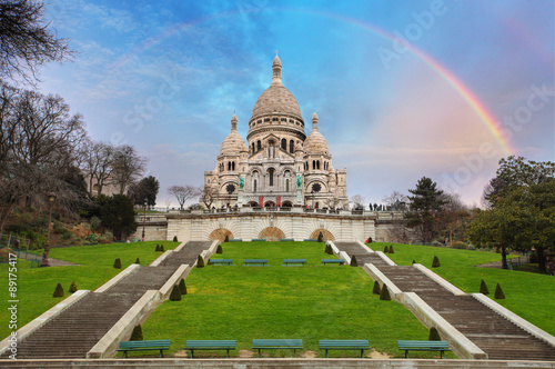 Photo  Sacre Coeur Basilica of Montmartre in Paris, France