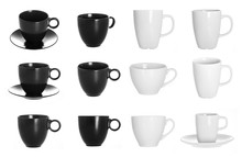 White And Black Cup On White Background