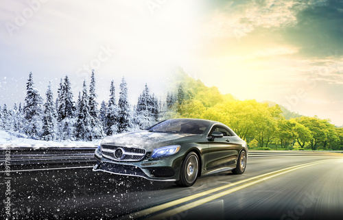 2 seasons on the road car Canvas Print