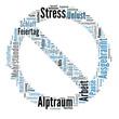 Stress Wort Wolke, verbot blau