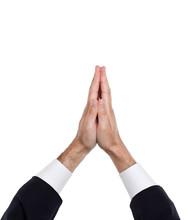 Man Hands Together Symbolizing Prayer And Gratitude