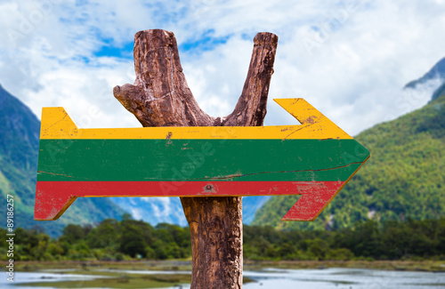 Poster Afrique du Sud Lithuania Flag wooden sign with mountains background