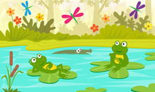 At The Pond - Two Cute Frogs Are Sitting On Water Lilies And Looking At Colorful Dragonflies. Eps10