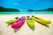 Colorful Of Kayaks Boat On The Beach