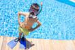 Enjoying childhood at swimming pool