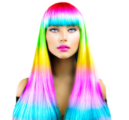 Fototapeta Do fryzjera Beauty fashion model girl with colorful dyed hair