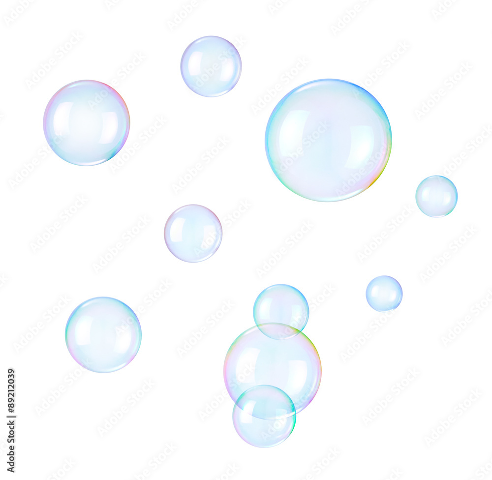 Fototapety, obrazy: Soap bubbles on a white background