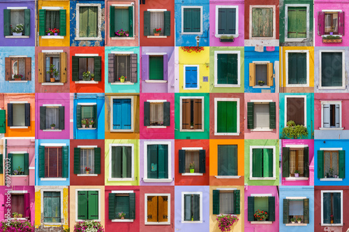 Fototapeta Abstract colorful windows on the island of Burano Venice Italy obraz
