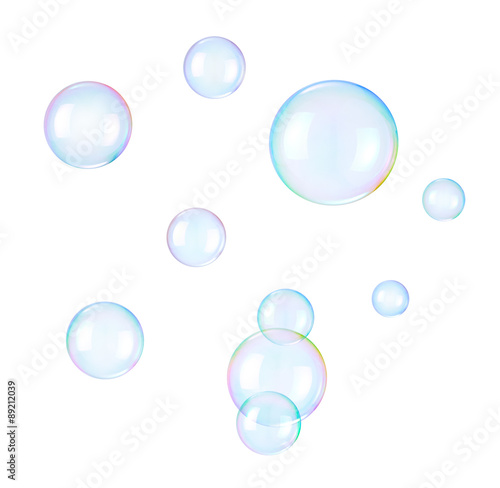 Fotografie, Obraz  Soap bubbles on a white background