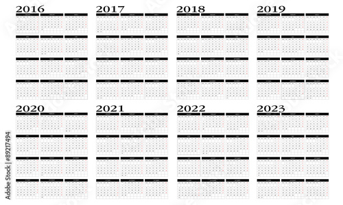 Fotografia  Calendar 2016 to 2023 in english