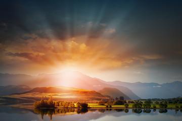 Sunrise above mountains