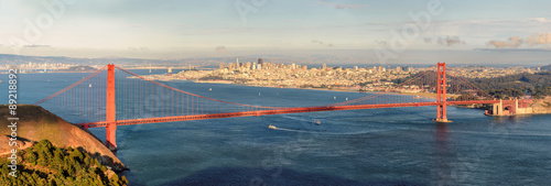 San Francisco Panorama and Golden gate bridge from San Francisco Bay