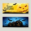 Leinwandbild Motiv Set of Halloween Banners