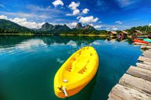 Yellow Canoe In Ratchaprapha Dam