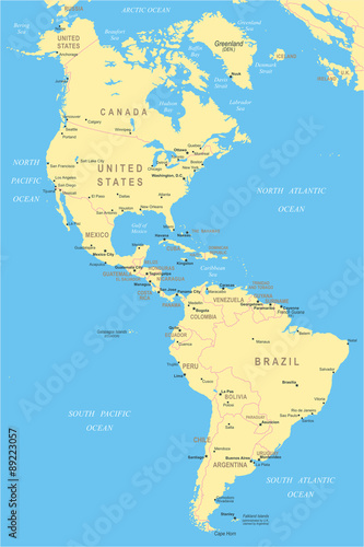 North and South America - map - illustration. – kaufen Sie diese ...