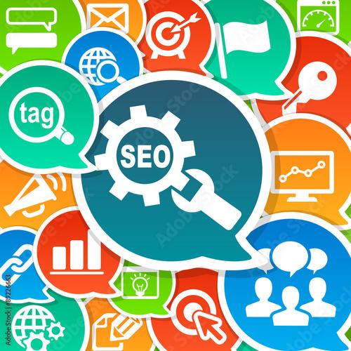Photo  SEO Search Engine Optimization Marketing Concept Background