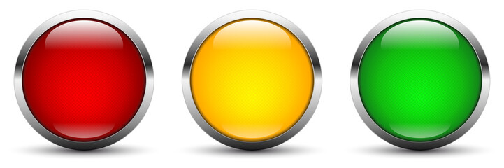 three vector webbuttons in traffic light colors red orange green