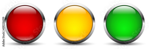 Photographie three vector webbuttons in traffic light colors red orange green