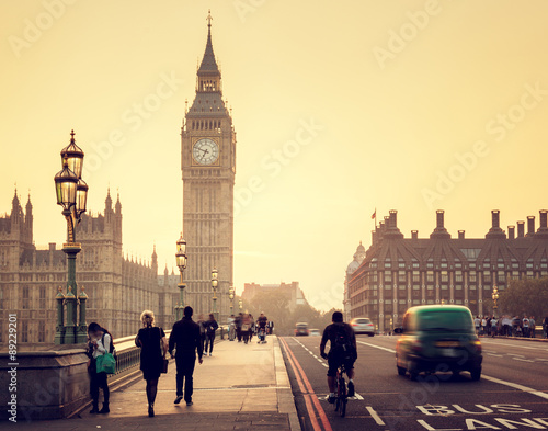 Poster London Westminster Bridge at sunset, London, UK