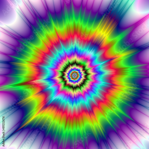 Psychedelic Color Explosion / A digital abstract fractal image with a colorful psychedelic explosion design in red, green, blue, violet and yellow Wallpaper Mural