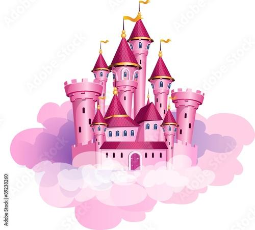 Wektor różowa księżniczka magiczny zamek.
