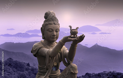 Printed kitchen splashbacks Buddha Buddhist statue at Po Lin Monastery - Lantau Island.