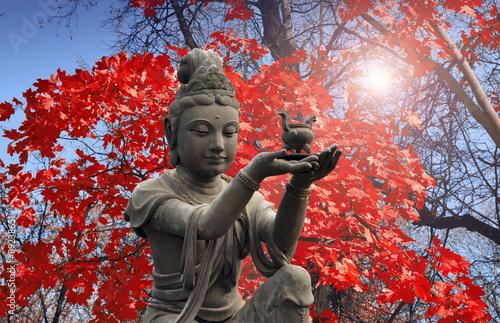Buddhist statue at Po Lin Monastery - Lantau Island. Wallpaper Mural