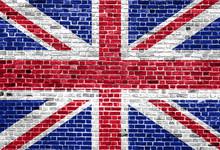 Flag Of United Kingdom Painted On Brick Wall, Background Texture