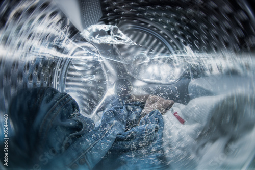 Fotografía  Internal view of a washing machine drum during wash