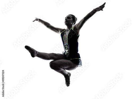 Tuinposter Gymnastiek Rhythmic Gymnastics teeenager girl woman silhouette