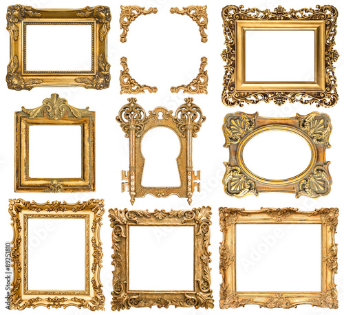 Golden picture frames. Baroque style antique objects - Buy this ...