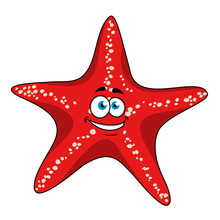 Cartoon Tropical Red Starfish ...