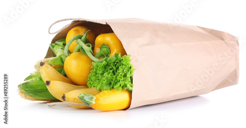 Poster Légumes frais Bag of fresh products isolated on white