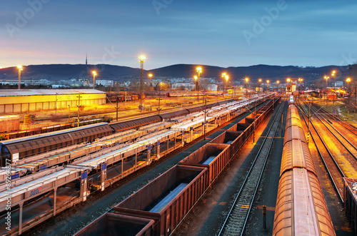 Train freight - Cargo railroad industry Fototapet