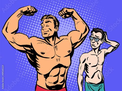 Fotografie, Obraz  Bodybuilder and thin man sport fitness