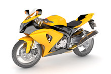 Isolated Black Yellow Motorcyc...