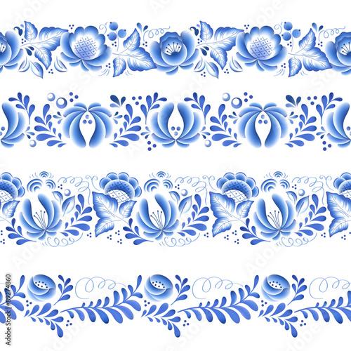 obraz PCV Blue flowers floral russian porcelain beautiful folk ornament.