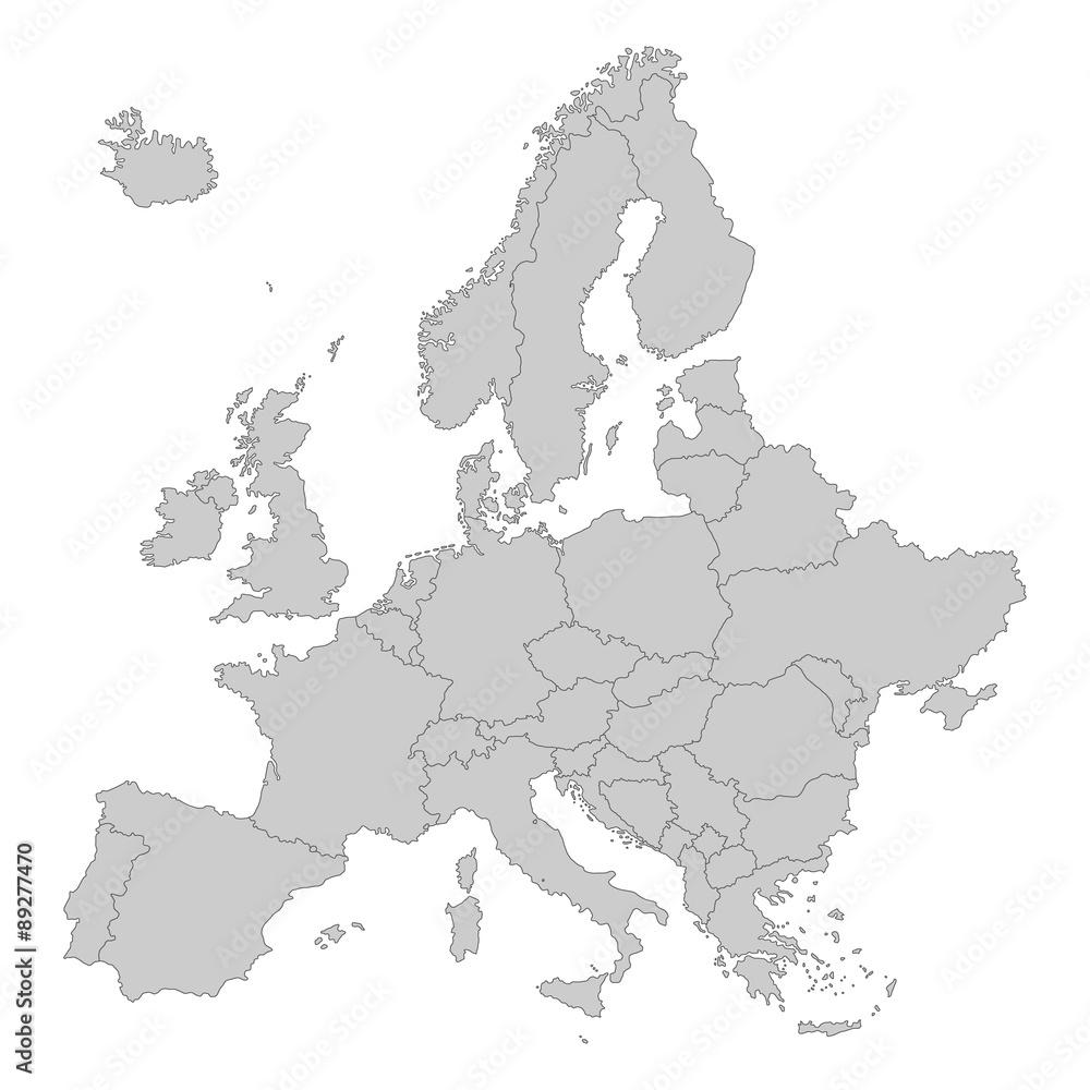 Fototapeta Europa in grau - Vektor