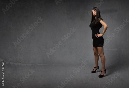 Printed kitchen splashbacks Artist KB elegant girl with hands on body