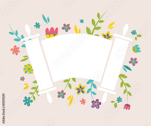 Jewish Torah surrounding with fresh vintage flowers Wallpaper Mural