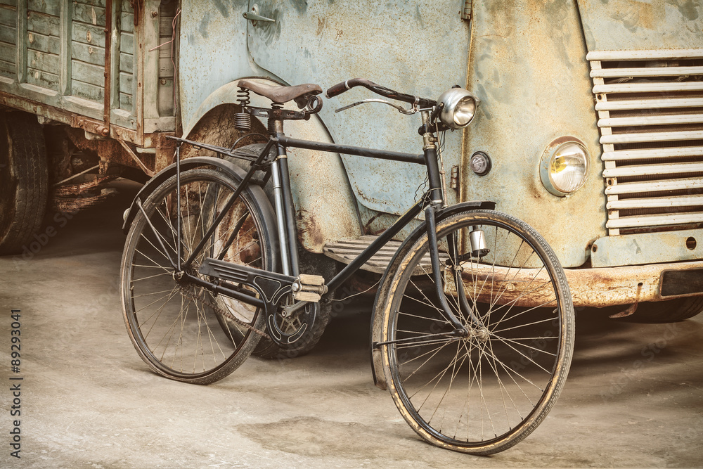 Fototapety, obrazy: Retro styled image of an ancient bike and truck