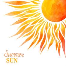 Watercolor Summer Sun Background.