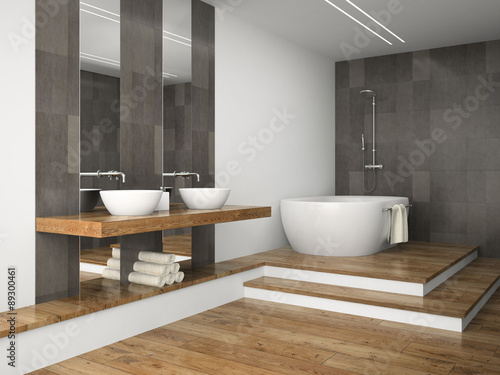 Valokuva  Interior of  bathroom with wooden floor 3D rendering