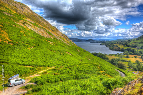 Photo  Wildcamping pop top campervan The Lake District UK Ullswater hdr