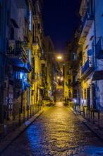 Night View Of Illuminated Street Leading Through The Historical Center Of Italian City Naples - Napoli.