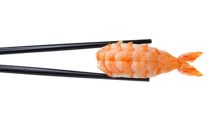 FototapetaShrimp sushi nigiri in chopsticks iolated on white background