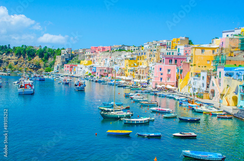 Garden Poster Napels italian island procida is famous for its colorful marina, tiny narrow streets and many beaches which all together attract every year crowds of tourists coming from naples - napoli.