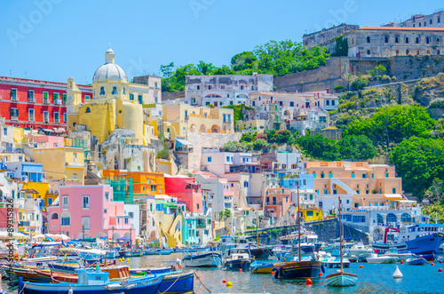 italian island procida is famous for its colorful marina, tiny narrow streets and many beaches which all together attract every year crowds of tourists coming from naples - napoli Wallpaper Mural