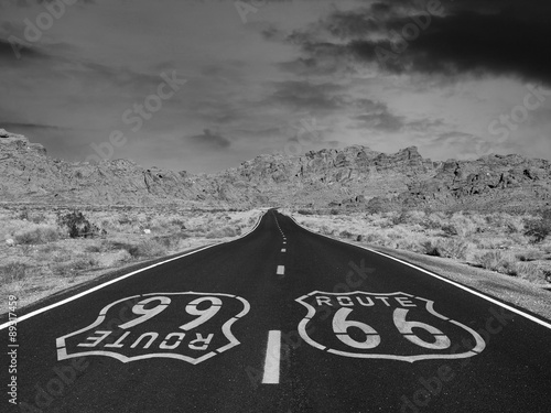 Foto op Canvas Route 66 Route 66 Black and White